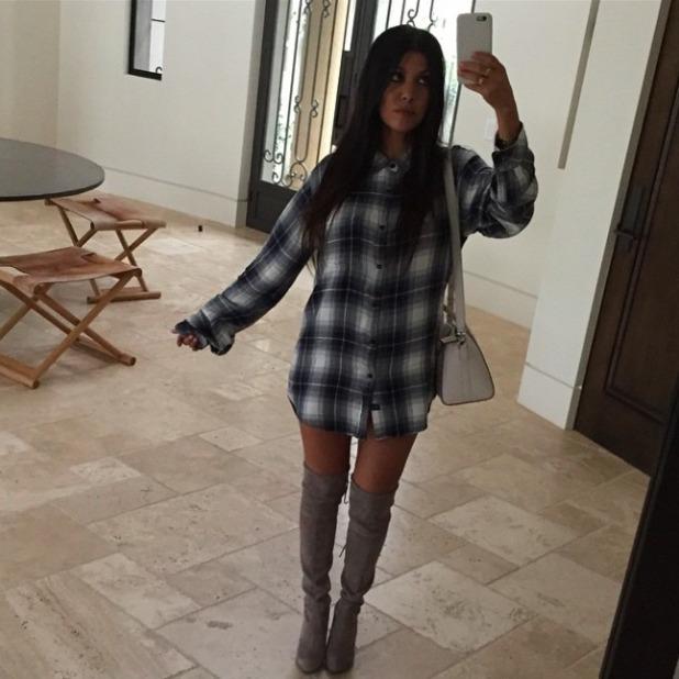 Kourtney Kardashian borrows boyfriend Scott Disick's shirt for latest outfit, 22 May 2015