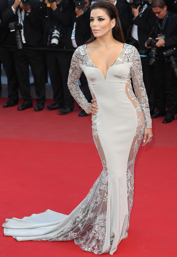 Eva Longoria in stone dress at the Annual Cannes Film Festival in France 19th May 2015