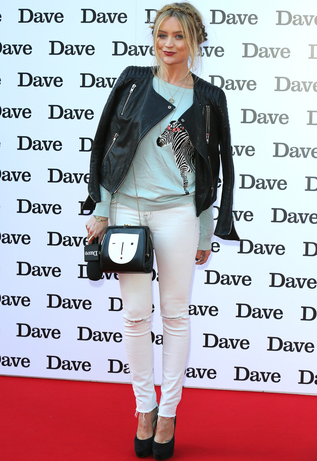 Laura Whitmore at the Dave red carpet event for the launch of David Hasselhoff's new TV show 20th May 2015