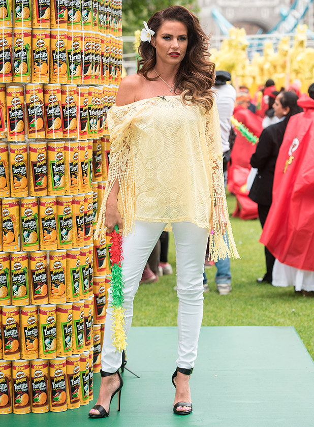 Katie Price joins popular crisps brand as they attempt to break the world record for the most amount of pinatas smashed at once at Potters Fields Park. 20 May 2015
