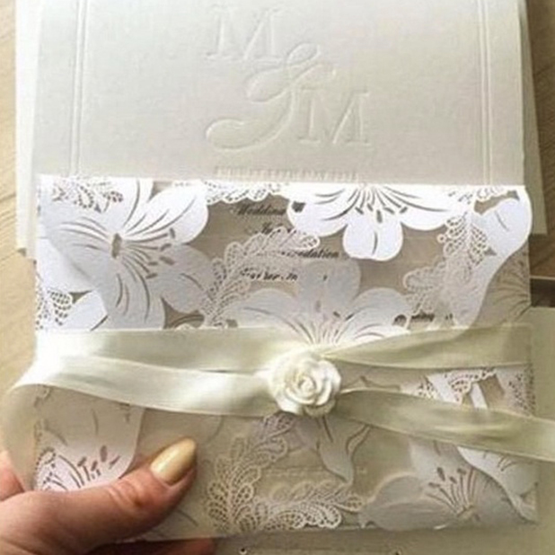 Mark Wright and Michelle Keegan's wedding invitation. May 2015