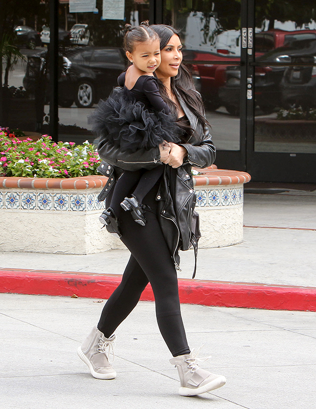 Kim Kardashian and North West are seen on May 21, 2015 in Los Angeles, California.