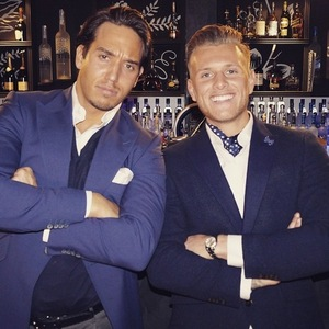 James 'Lockie' Lock and Tommy Malle pose for a picture - TOWIE series 14 - 2015.