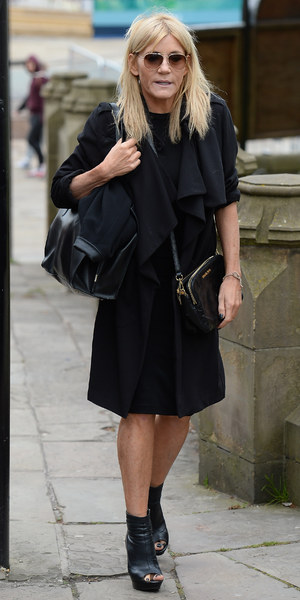 Michelle Collins attends the memorial to co-star Anne Kirkbride, 30 May 2015