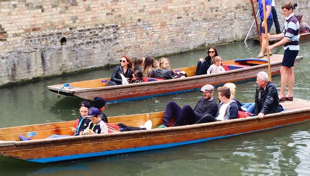 The Beckhams punting on the River Cam, Cambridge, 25th May 2015
