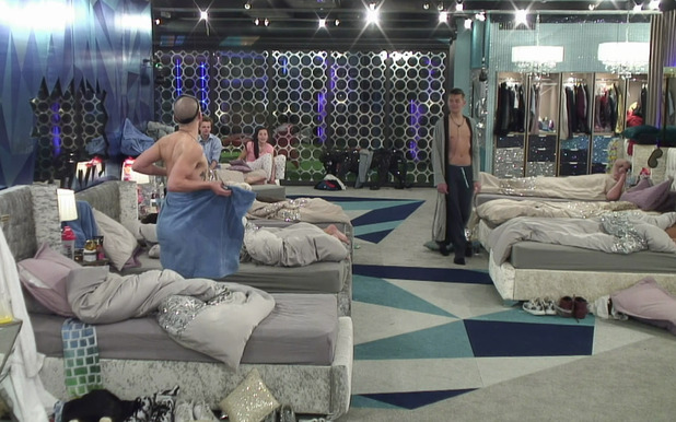 Aaron Frew exposes himself to Joel Williams, an incident which led to Frew being removed from the house on 'Big Brother' - 28 May 2015.