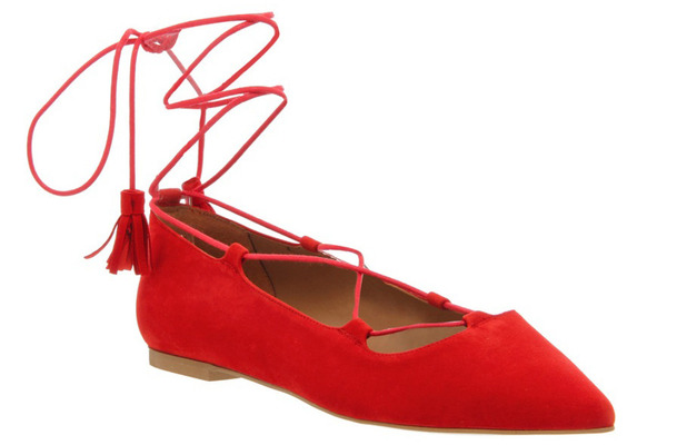Office red lace-up ankle pumps, £60 27th May 2015
