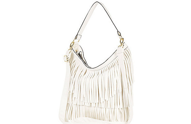 River Island white fringed bag, £18, 28th May 2015