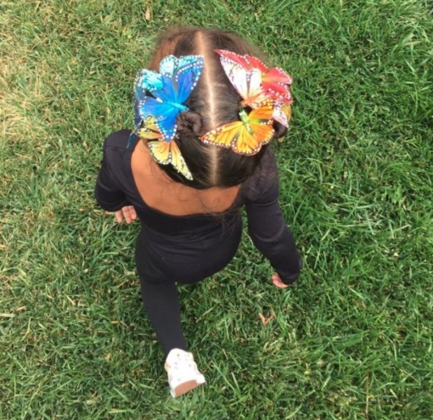 Kim Kardashian shares picture of North West's butterfly hair-style, 26th May 2015