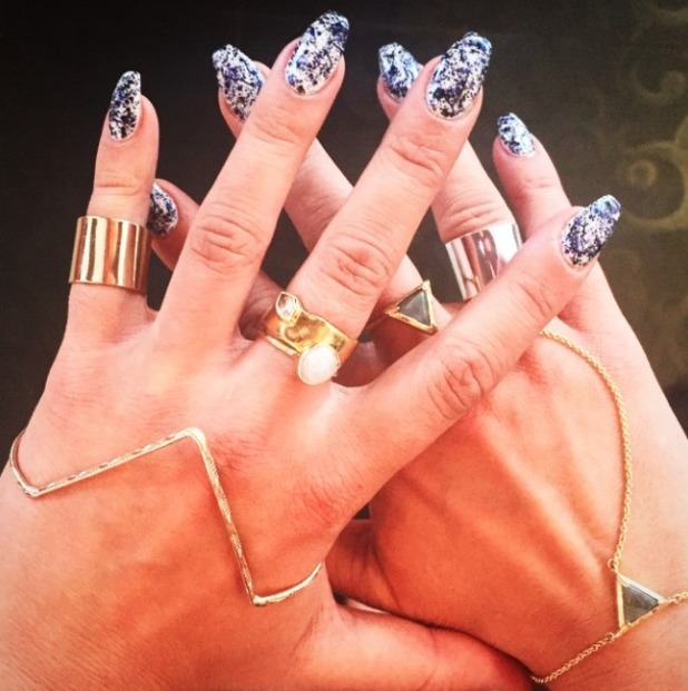 Ferne McCann shows off her monochrome 'ballerina' nails for Marbella TOWIE special, 28 May 2015