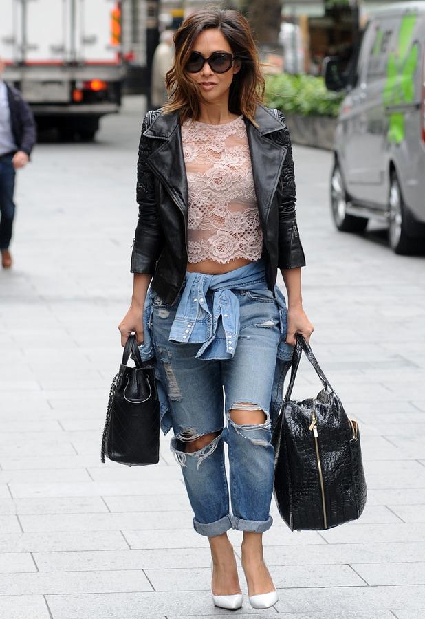 Myleene Klass on her way into work in London 29th May 2015