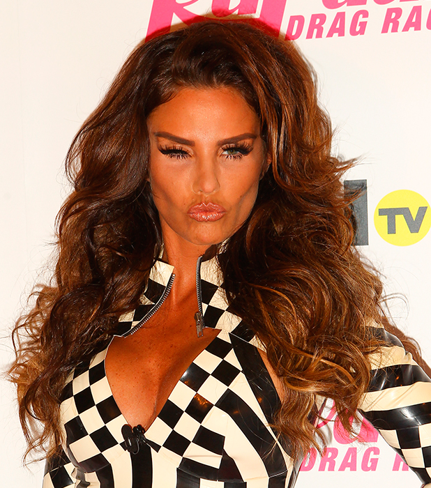 Katie Price arrives for the launch of RuPaul's Drag Race, 28 May 2015