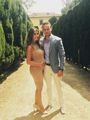 Imogen Thomas and boyfriend Adam Horsley at friend's wedding, Florence, Italy 30 May