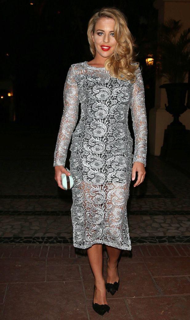 Lydia Rose Bright TOWIE in Marbella wearing sheer lace dress, 2nd June 2015