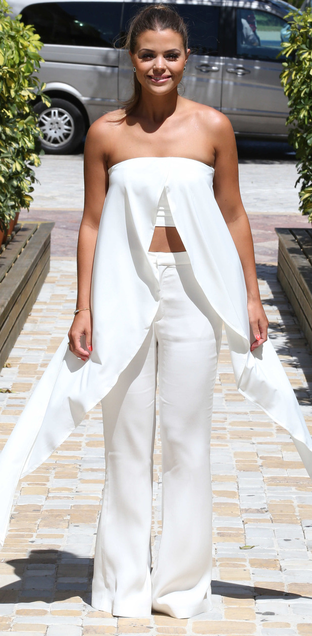 TOWIE's Chloe Lewis wearing white in Marbella, filming The Only Way Is Essex, 4th June 2015