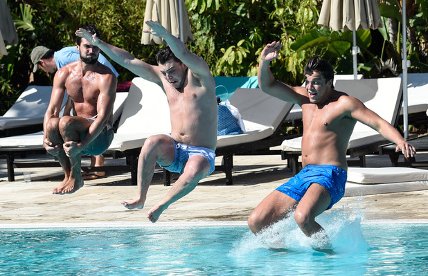 TOWIE's Lewis Bloor, Dan Edgar and James 'Diags' Bennewith jump into the pool in Marbella - 2 June 2015.