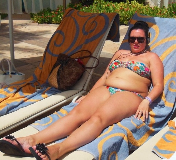 Mia Holden on sunbed before she lost weight