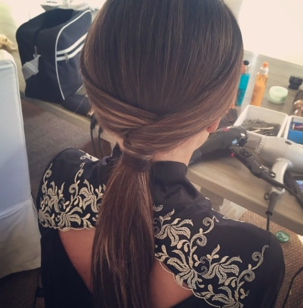 Jessica Wright shows off fabulous twisted ponytail in Marbella, 3 June 2015