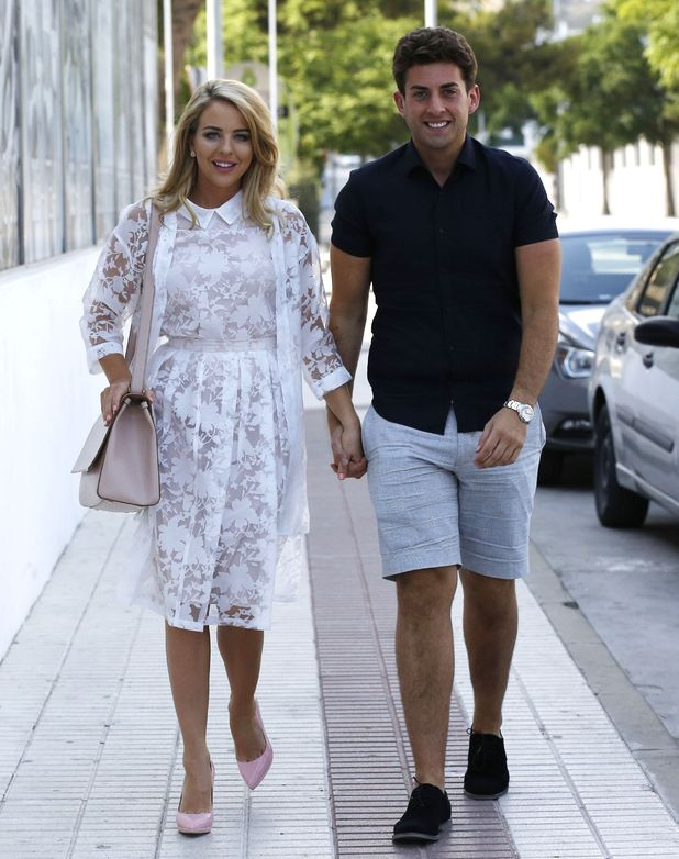 TOWIE stars James 'Arg' Argent and Lydia Bright on their first night in Marbella - 30 May 2015.