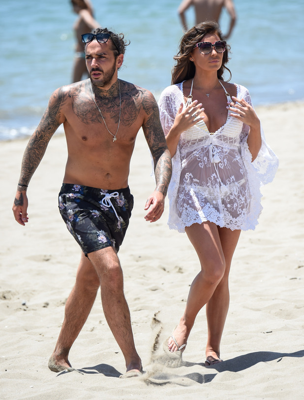 TOWIE's Jessica Wright and Peter Wicks film beach volleyball match in Marbella - 3 June 2015.