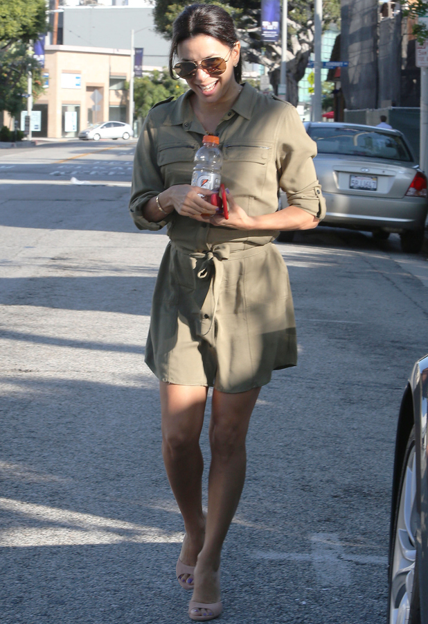 Eva Longoria running errands in L.A, Khahi shirt dress 3rd June 2015