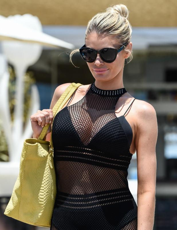 Chloe Sims: TOWIE stars film beach volleyball match in Marbella, 3 June 2015