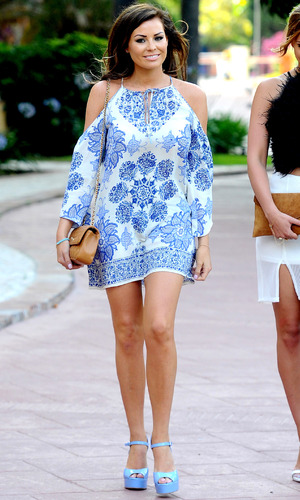 Jess Wright in cold shoulder dress in Marbella 8th June 2015