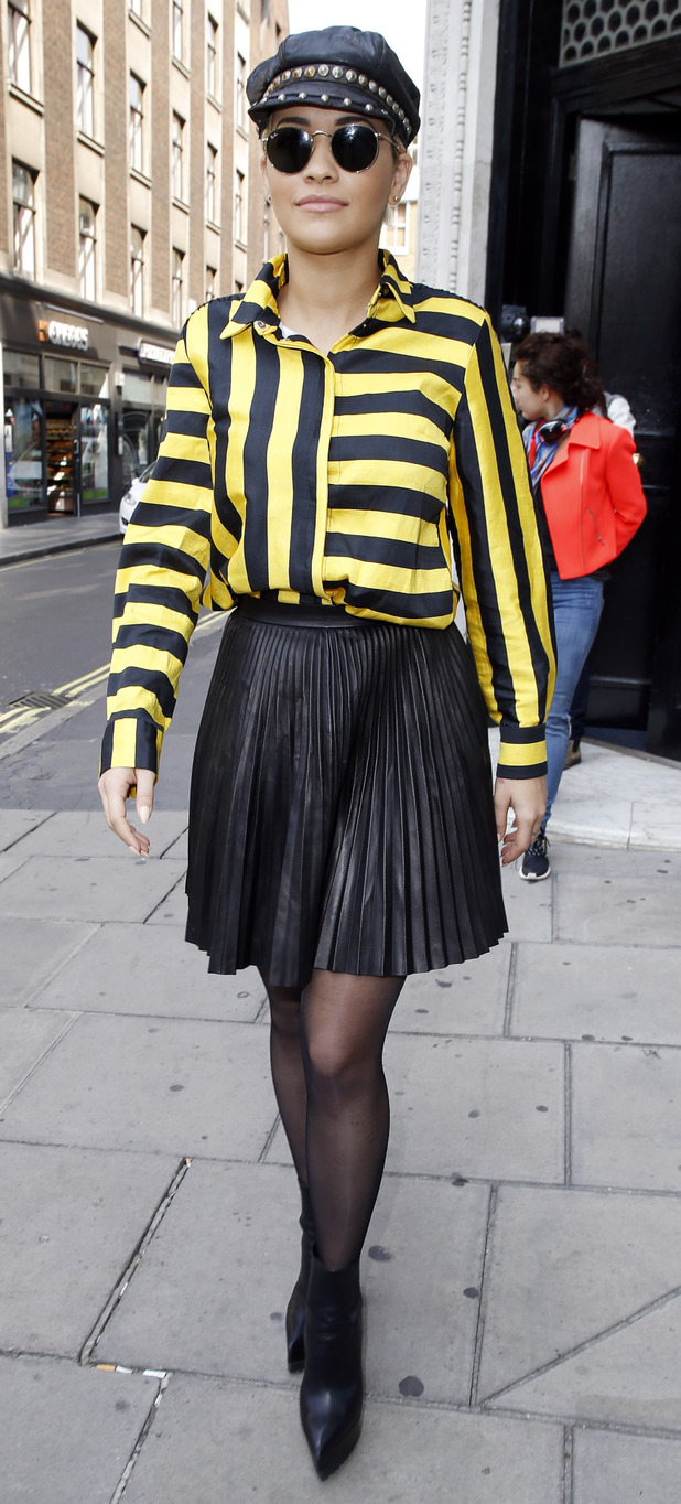 Rita Ora entering a recording studio in London 12th June 2015