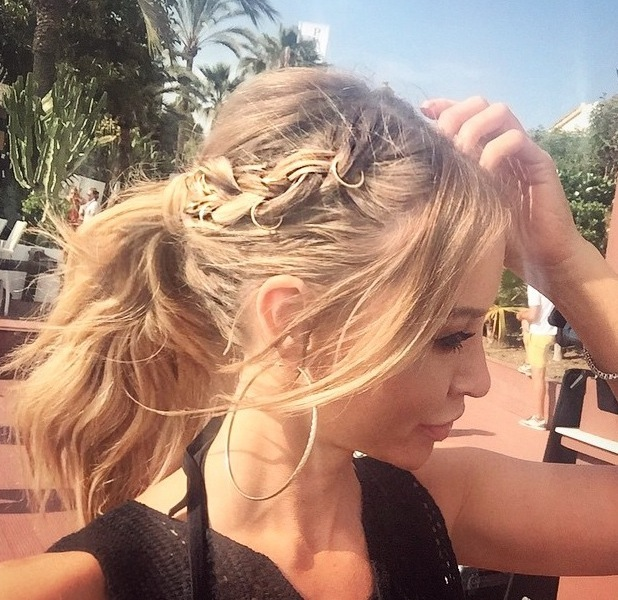 TOWIE's Lauren Pope shares Instagram picture of her hoop earrins and hair rings 11th June 2015