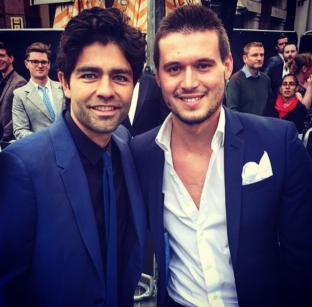 TOWIE's Charlie Sims rubs shoulders with Entourage's Adrian Grenier at premiere in London - 9 JUne 2015.
