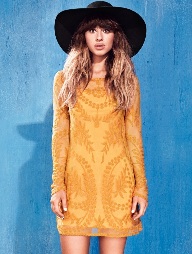 Singer Foxes is the new face of H&M's Love music clothing campaign, wearing yellow mini dress 10th June 2015