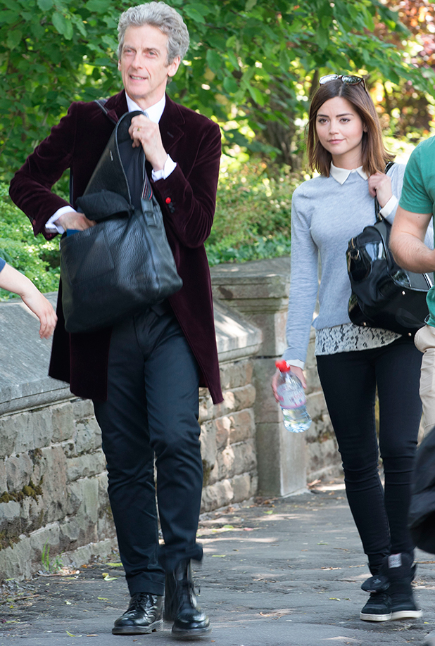 'Doctor Who' TV show on set filming, Cardiff, Wales, Britain - 11 Jun 2015 Peter Capaldi and Jenna Coleman