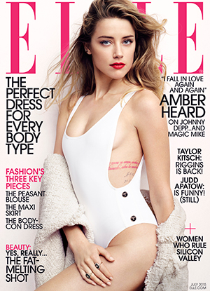 Amber Heard on cover of ELLE US July 2015 issue.
