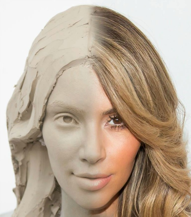 Kim Kardashian getting a selfie waxwork in London