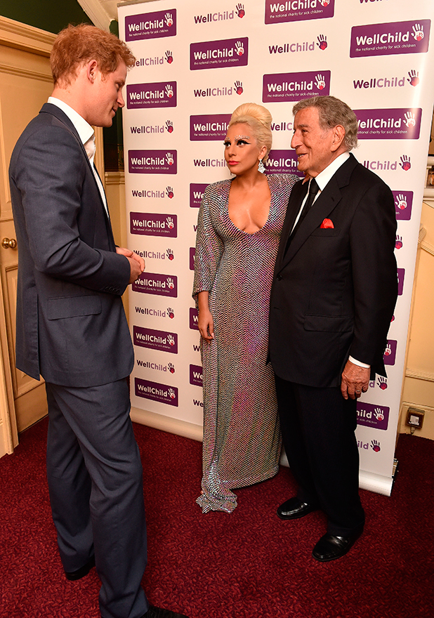 Prince Harry meets Lady Gaga and Tony Bennett prior to the Gala Concert in aid of WellChild at Royal Albert Hall on June 8, 2015 in London, England. (Photo by Alan Davidson - WPA Pool / Getty Images)