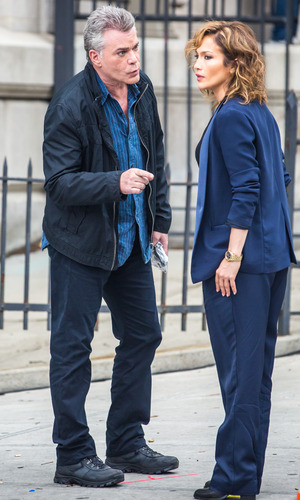 Jennifer Lopez and Ray Liotta filming on location set of NBC's new TV series 'Shades of Blue' - 15 June 2015.