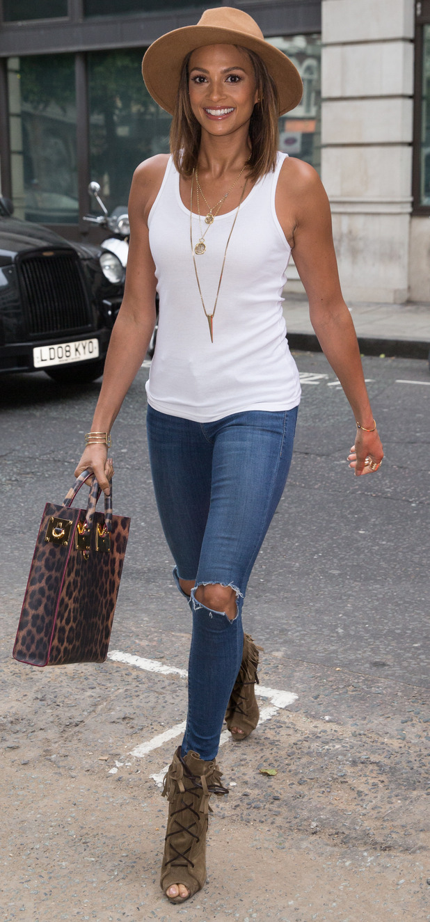 Alesha Dixon arriving at BBC Radio 2 for Chris Evans' early morning show 19th June 2015