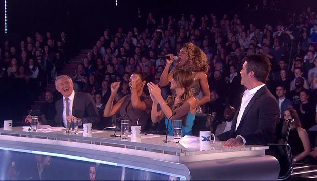 Fleur East performing on The X Factor - series 11 - November 2014.