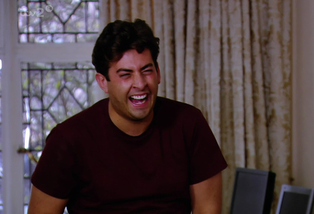 James 'Arg' Argent laughs with TOWIE co-star Tom Pearce - 3 April 2014.
