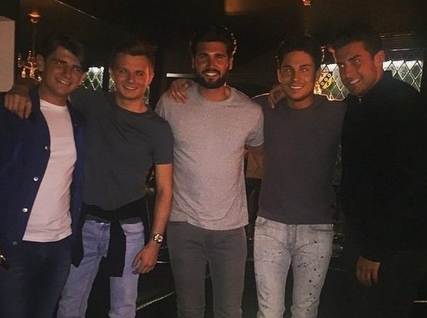 TOWIE's Dan Edgar, James 'Arg' Argent and Joey Essex dine out at Sheesh Chigwell - 15 June 2015.