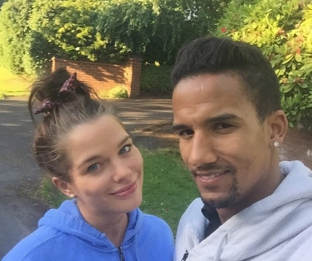 """Pregnant Helen Flanagan goes on """"due date walk"""" with Scott Sinclair - 18 June 2015."""