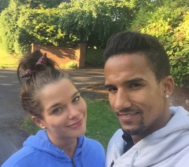 "Pregnant Helen Flanagan goes on ""due date walk"" with Scott Sinclair - 18 June 2015."