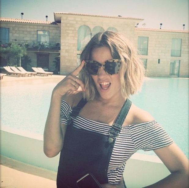 Caroline Flack poses in Majorca, filming Love Island, 17 June 2015