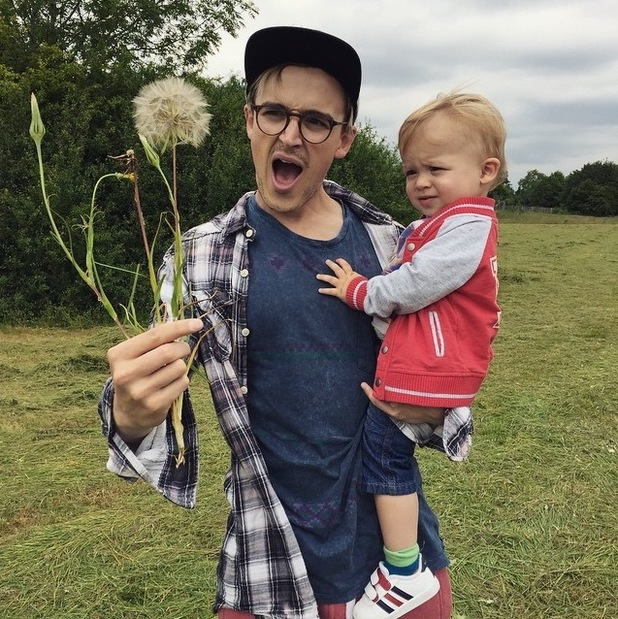 Tom Fletcher shares snap with son Buzz and a giant dandelion, 14th June 2015