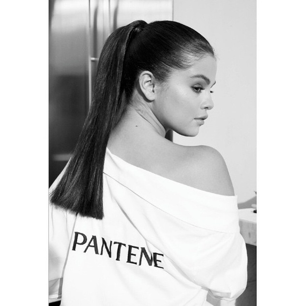 Selena Gomez announced as the face of Pantene, black and white picture 16th June 2015