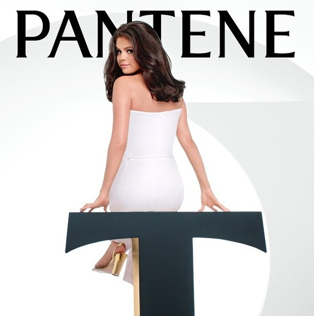 Selena Gomez is announced as the face of Pantene, wearing white dress and gold heels 16th June 2015