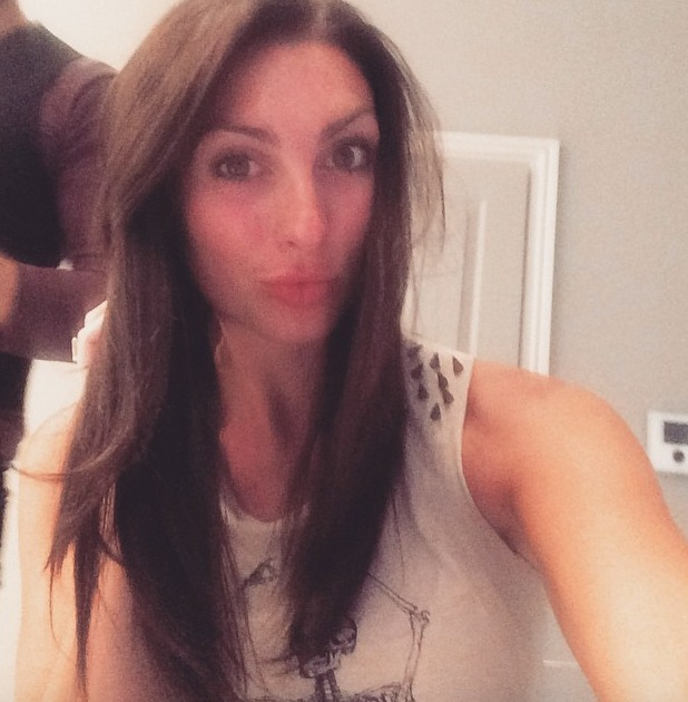 Luisa Zissman shows her make-up free face and natural hair before having Easilocks hair extensions applied by Shane O'Sullivan, 19 June 2015