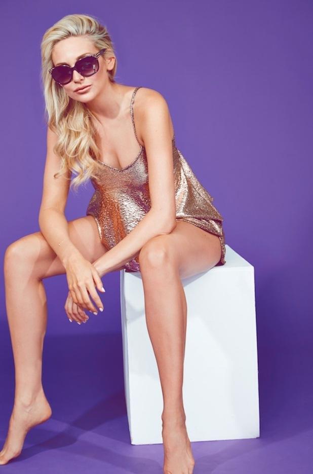 Stephanie Pratt South Beach summer collection, metallic dress 16th June 2015