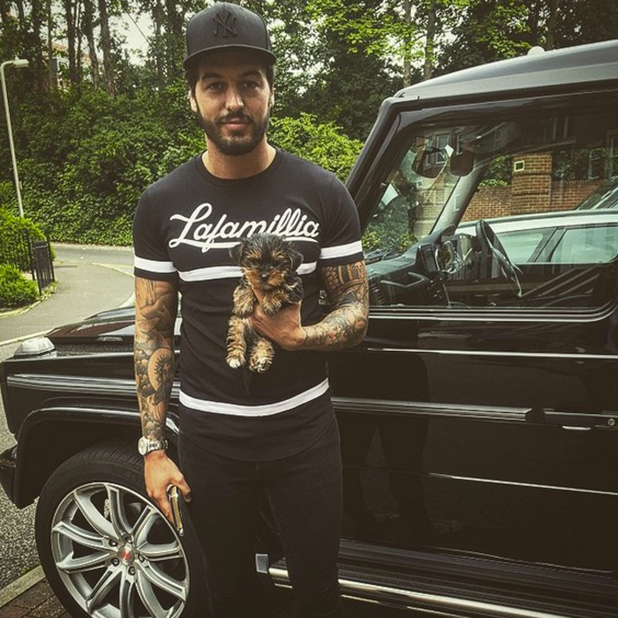 TOWIE's Mario Falcone with new dog Oscar, June 2015