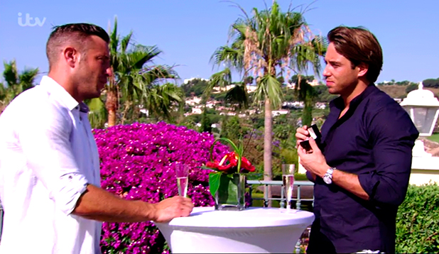 TOWIE's James Lock shows Elliott Wright the engagement ring he bought for Danielle Armstrong 15 June 2015